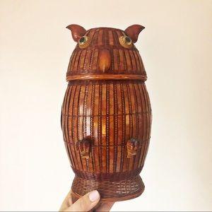 Vintage Shanghai Wicker Owl Basket Boho Decor